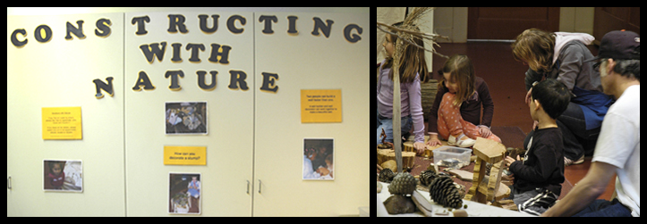 sign stating constructing with nature, and photo of people making art in the studio with naure